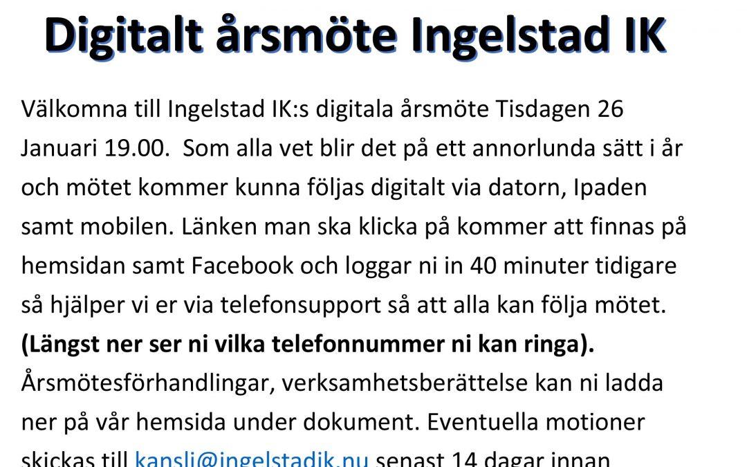 Digitalt Årsmöte 26 Januari Kl 19.00